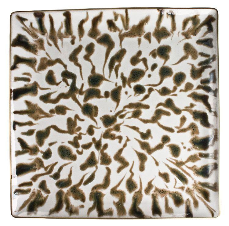 Cream Scale Gold Square Plate 24CM collection with 1 products