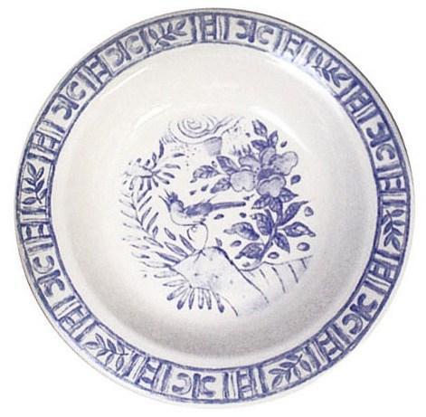 Gien  Oiseau Blue & White Round Deep Dish $95.00