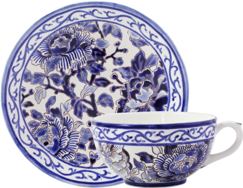 Gien  Pivoines Bleues Breakfast Cup & Saucer $316.00