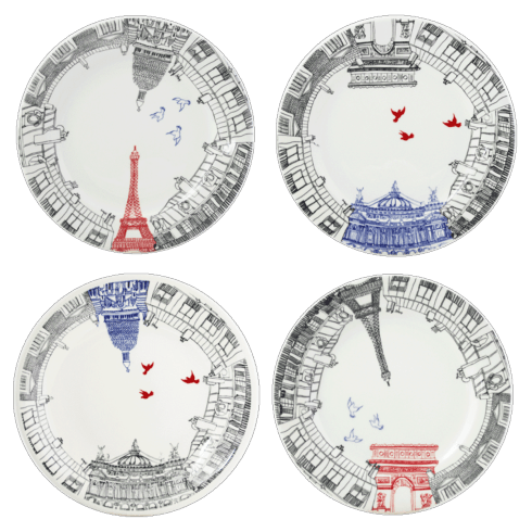 Gien  Ca C\'est Paris! Dessert Plates, Set of 4 assorted $120.00
