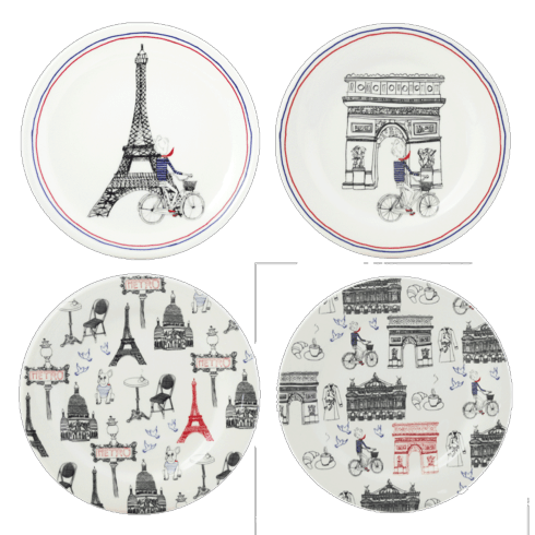 Gien  Ca C\'est Paris! Canape Plates, Set of 4 assorted $100.00