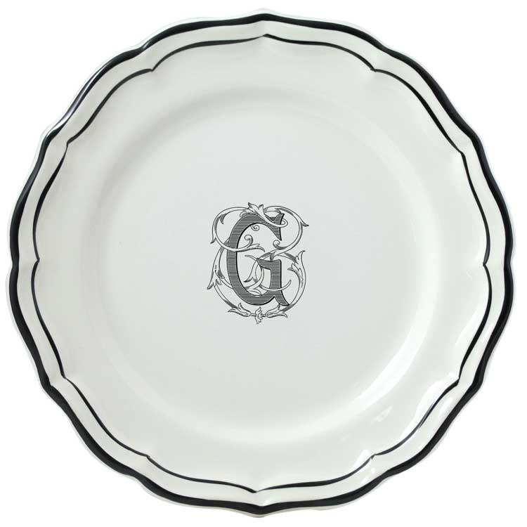 Gien  Filet Midnight/Manganese Monogram Dessert Plate $45.00