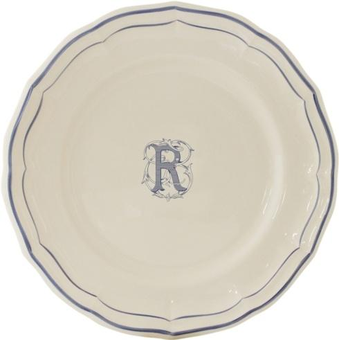 Gien Monogram Filet Blue Dessert Plate R $45.00