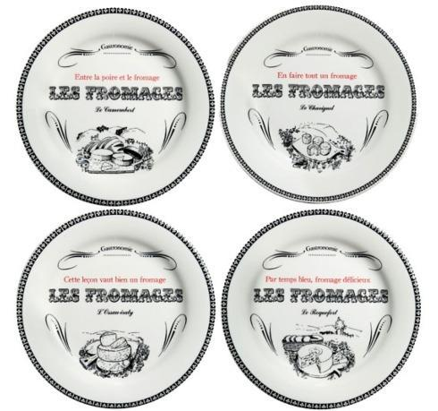 Set of 4 Cheese Plates, Assorted