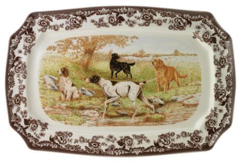 Spode  Woodland Spode Woodland Rectangular Platter 17.5 Inch (Dog Scene) $164.95