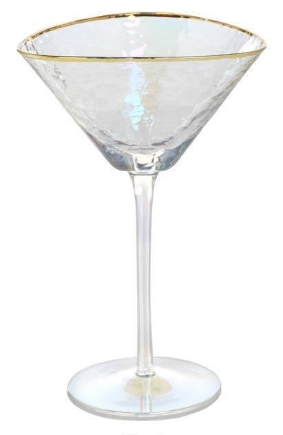 Aperitivo Triangular Martini Glass - Luster w/Gold Rim image