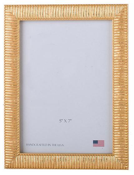 "Elizabeth Clair\'s Unique Gifts  Frames Gold Linear 5"" X 7"" Frame $35.95"