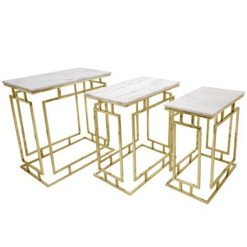 Sagebrook Home    Gold Metal Table with Marble Top $179.95