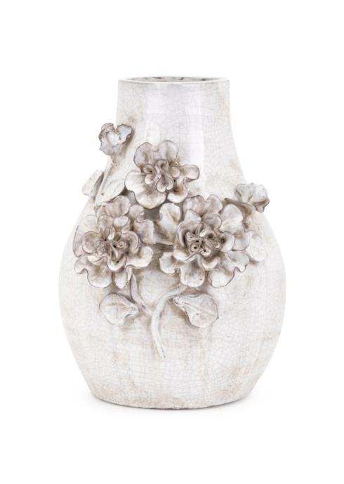 $73.95 Bloom Small White Stoneware Vase With 3D Flowers
