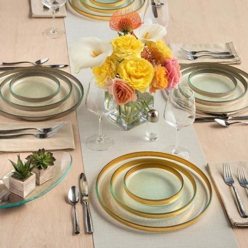 $81.95 Annieglass Mod Medium Round Plate Gold