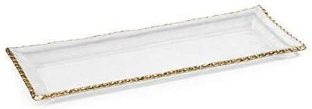 Zodax   Rectangular Glass Tray with Gold Trim $37.95