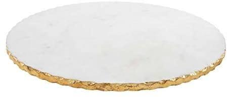 $71.95 Marble Lazy Susan White with Gold Trim