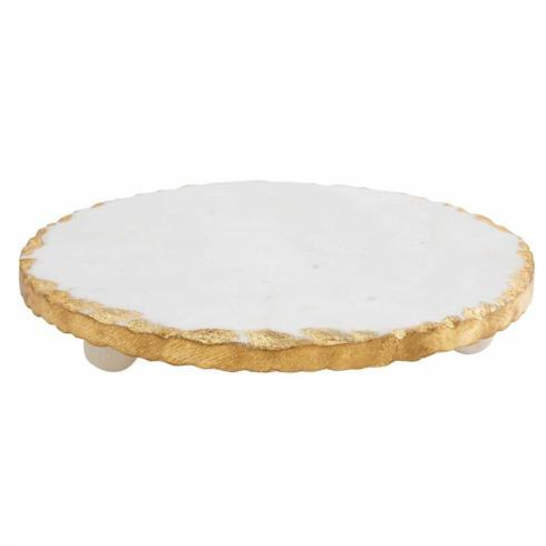 $24.95 MARBLE TRIVET With Chipped Gold Edge