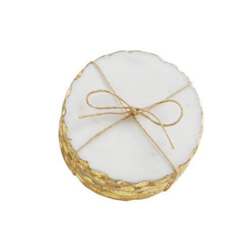 Mud Pie   White Marble Coasters with Gold Edge $19.95