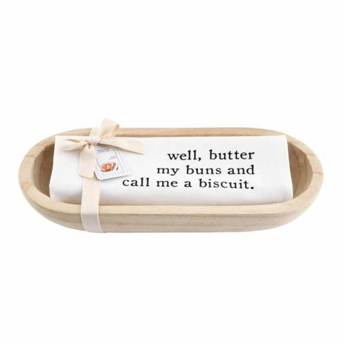Mud Pie   WOOD BREAD BOWL & TOWEL SET $27.95