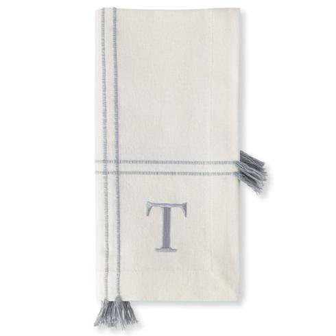 "$18.95 INITIAL COTTON TASSEL DINNER NAPKIN SET initial ""T"""