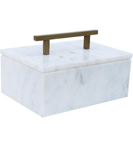 A & B Home   Marble Box with Brass Handle $51.95