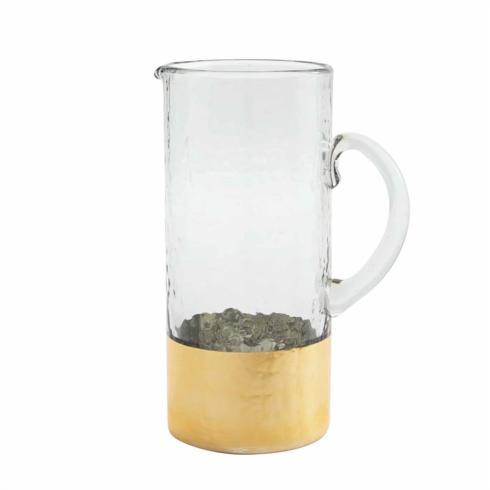 Mud Pie   Hammered gold glass pitcher with hand-painted gold finished base. $32.95