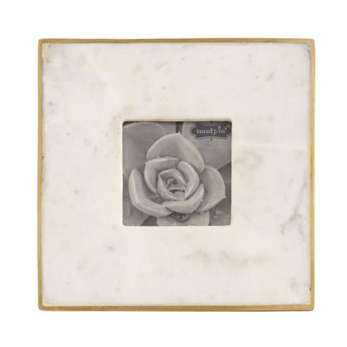 """$27.95 4"""" X 4"""" MARBLE & GOLD FRAME"""