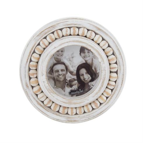 Mud Pie   Small Circular Beaded Woden Frame $14.95