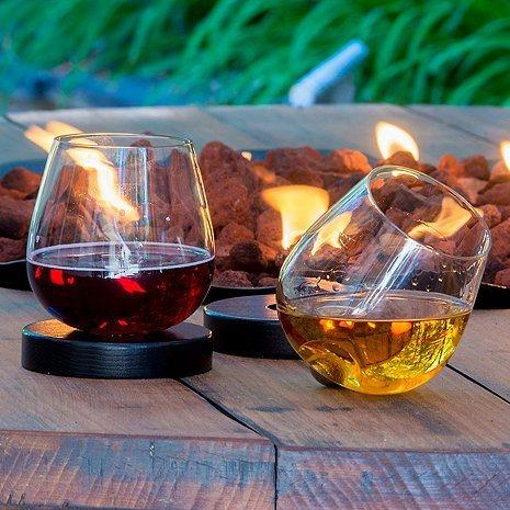 $27.95 Aura Glass | No Spill Aerating Glass for Wine & Spirits with Modern Wood Oak Coaster