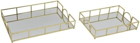 Sagebrook Home   Small Rectangular Gold Tray with Mirror bottom $46.95