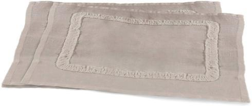 $41.95 Mathilde Collection Gray Ruffled Trim Linen Placemat (Set of 4)