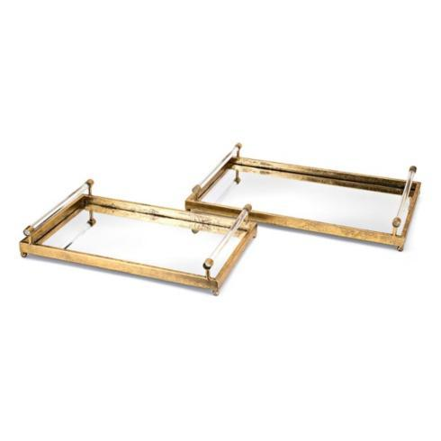 $139.95 Carter Metal and Acrylic Decorative Trays set of 2