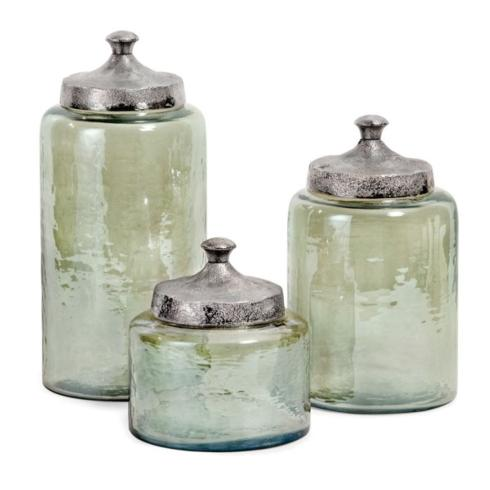 IMAX   Medium Round Green Luster Canisters $52.95
