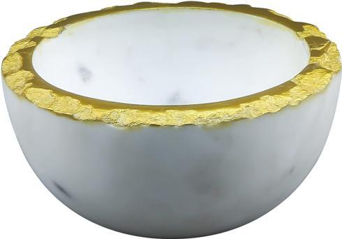 $24.95 White Marble Gold Edge Bowl