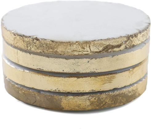 $24.95 Thirstystone Round White Marble/Gold Edged Coasters (Set of 4), Multicolor