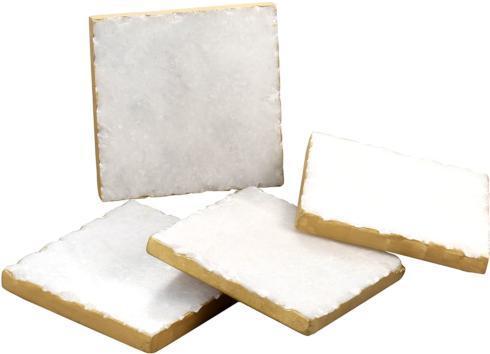 Elizabeth Clair\'s Unique Gifts  Coasters Square White Marble/Gold Edged Coasters (Set of 4) $24.95