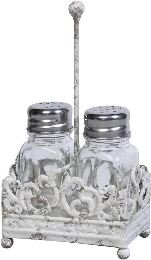 $18.95 Piece Glass Salt & Pepper Shakers in Metal Caddy