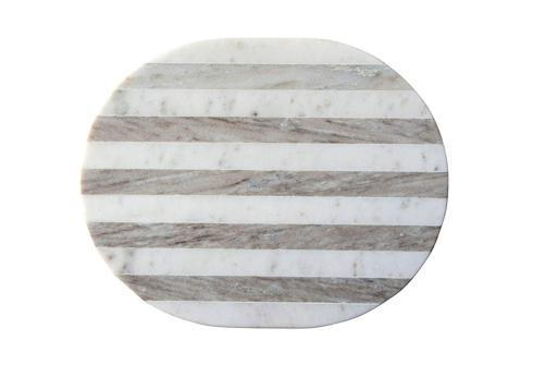 $40.95 Oval Grey & White Striped Marble Cheese/Cutting Board, Grey