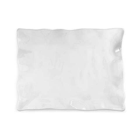 Q Squared   Ruffle White Melamine Rectangle Small Platter $49.95