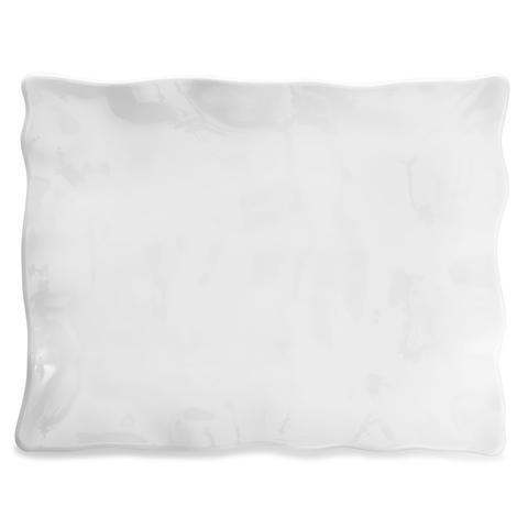 Q Squared   Ruffle White Melamine Rectangle Large Platter $53.95