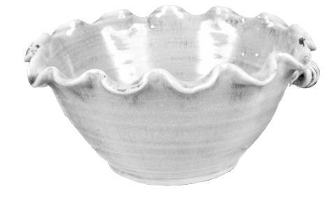 A&B Floral   White deep ruffle bowl $64.95
