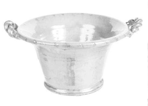 "$74.95 18"" Round Bowl Flair White Twist Handles"