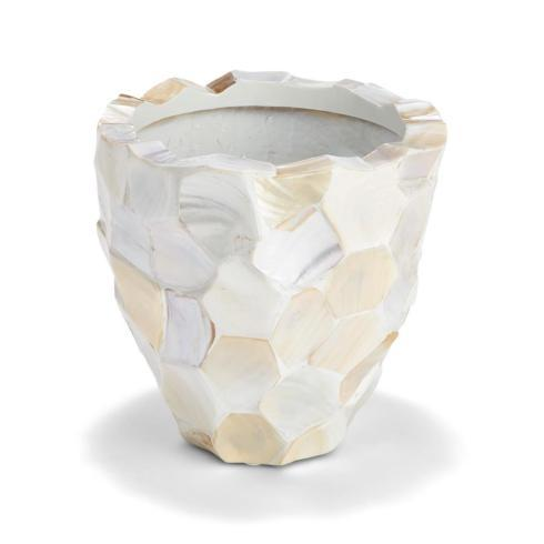 $79.95 Hexagon Cut White Mother of Pearl Planter - MOP/Fiberglass