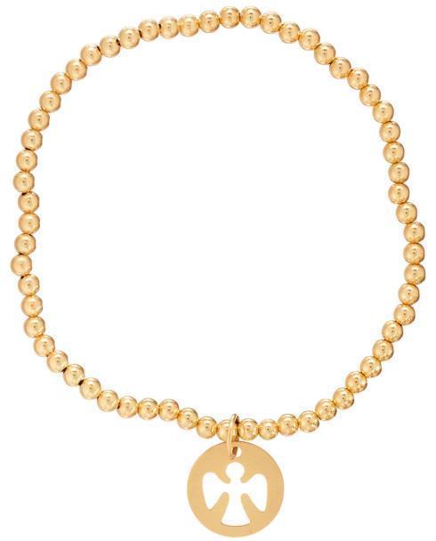 $44.00 Classic gold 3mm bead bracelet - guardian angel charm