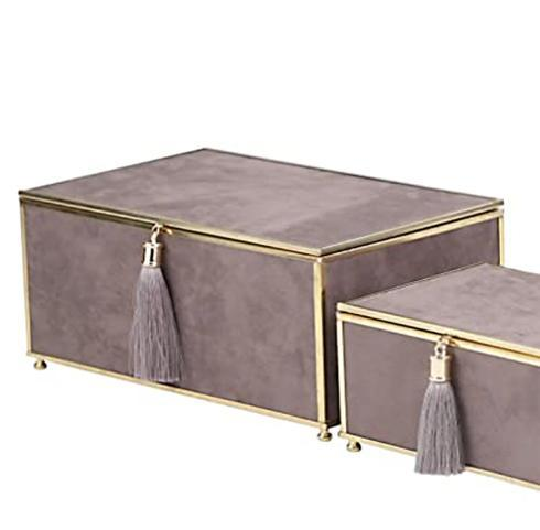 $34.95 Large Gray Velvet Storage Box with Tassel