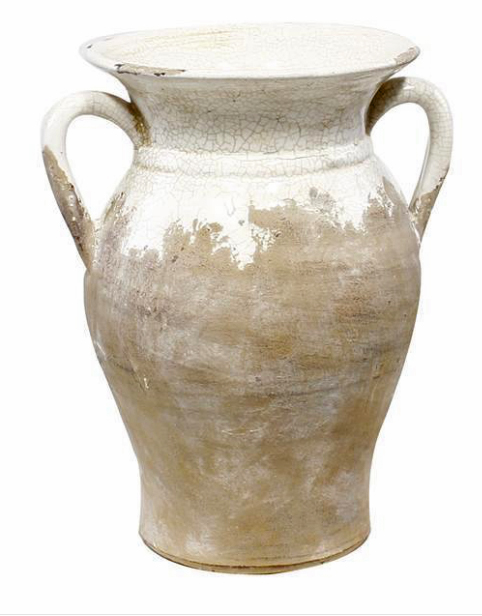 "$28.95 10"" HAND THROWN ROUND VASE W/EAR HANDLE"