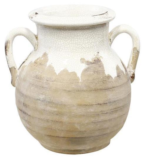 A&B Floral   White and Matt Vase With Handles $45.95