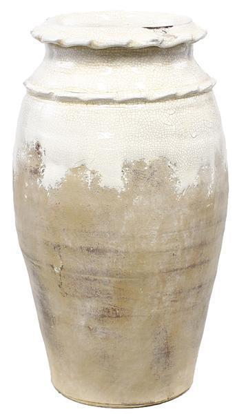 "A&B Floral   White With Natural Base 13"" Vase With Waffle Rim $43.95"