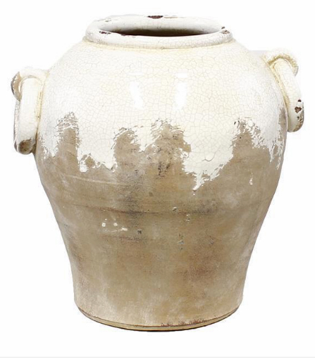 "$46.95 10.25"" HAND THROWN ROUND JAR W/HANDLES"