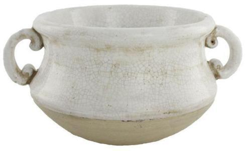 """$69.95 White Stoneware 12.5"""" Container With Handles"""