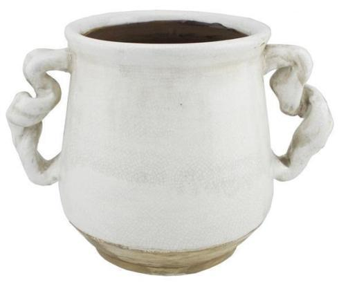 "$42.95 WHITE 9.75"" L STONEWARE HANDTHROWN JAR"