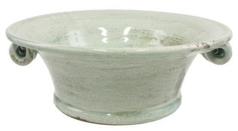 "$56.95 AQUA 13.5"" DIA X 5.25"" H BOWL with FLAIR CURLED HANDLES"