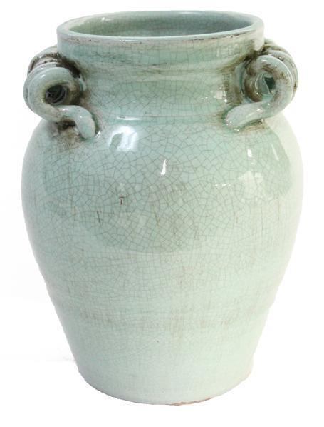 "$48.95 Aqua Jar Vase 9.75"" With Scroll Handle"