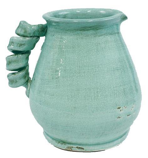 "$45.95 Aqua Pitcher With Twist Handle 9.5"" H x 9"" W"